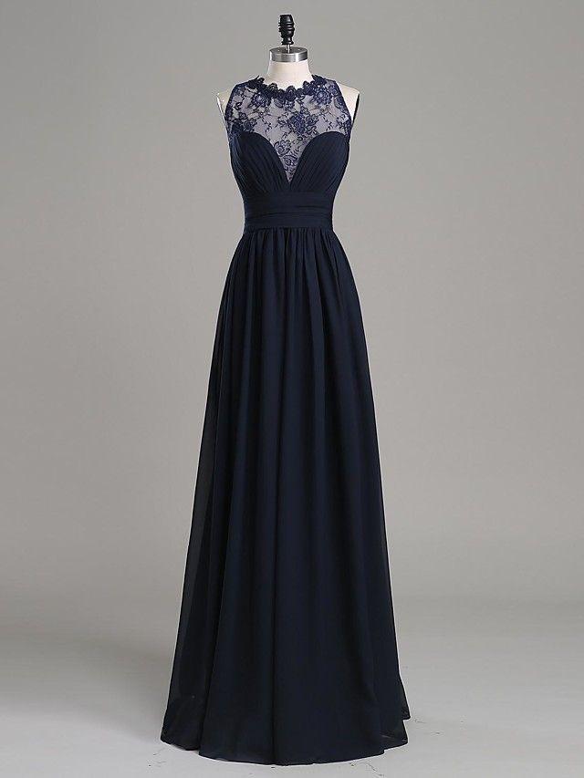 Formeller Abend Kleid-Dunkles Meeresblau Chiffon / Spitze-A-Linie-Boden-Länge-Schmuck - EUR €88.19