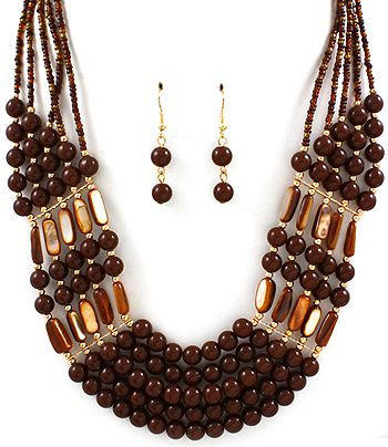 "This amazing #necklace has 5 layered strands of beautiful brown #semiprecious stone #beads. The layers are aligned perfectly and are finished with gold and brown #seedbead chain and a lobster clasp, creating a very sophisticated look! A perfect ""WOW"" necklace for any occasion!!  Material: Semi precious stone and seed beads Size: 22 inch long Colour: Brown  #FashionAccessories, #beadnecklace, #fashion, #accessories"
