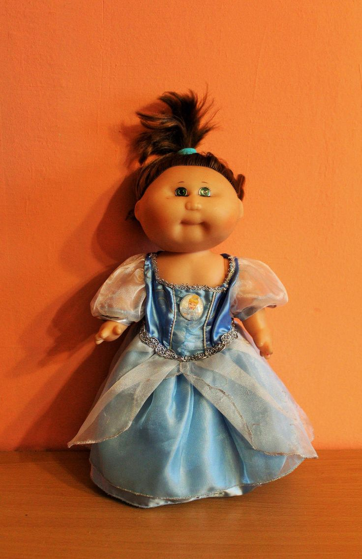 Vintage Cabbage Patch Kids Doll, Plastic Body, Brown Hair, Cinderella Dress, Signed Xavier Roberts 1978 1982 by Grandchildattic on Etsy