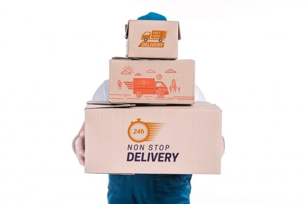 Download Free Delivery Boxes Plus Delivery Man Mockup In Psd Delivery Man Mockup Delivery
