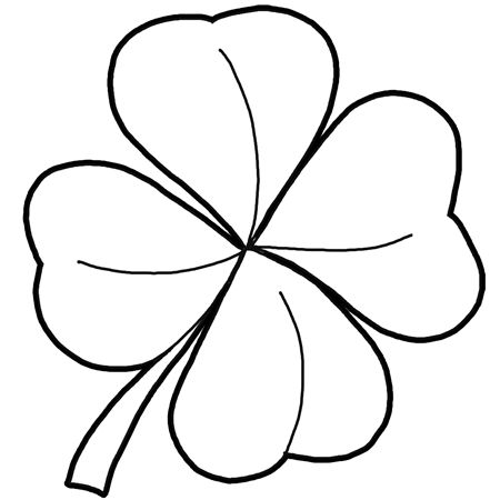 4 clovers and leprechaun coloring images for kids