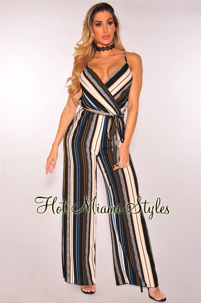a1439b26f76 Black Cream Striped Belted Palazzo Jumpsuit