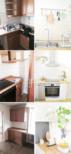 """Makeover: Alte Küche neu gestalten. Alte Küche weiß streichen. Hier seht ihr, inklusive Vorher und Nachher-Fotos wie sich unsere """"Eiche Rustikal""""-Küche gewandelt hat: https://bonnyundkleid.com/2016/08/kueche-verschoenern-vorher-nachher/"""