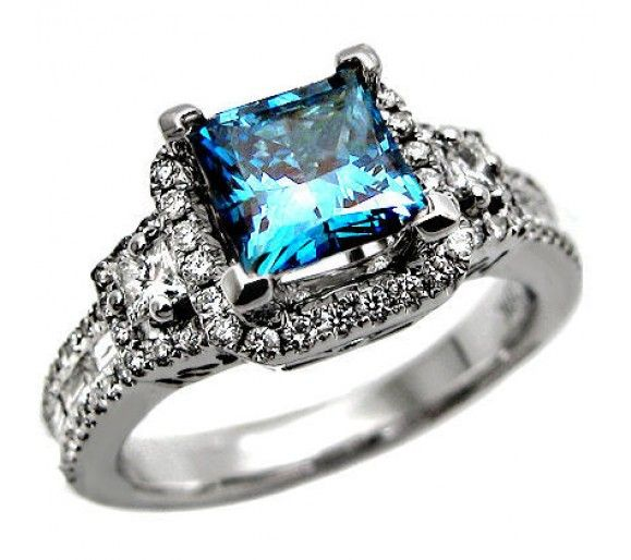 1.89ct Blue Princess Cut Diamond Engagement Ring 18k White Gold