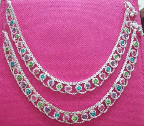 Silver Payal Designs | ... Silver Plated Chain Multicolor Stones Studded Anklet Payal (SOLD