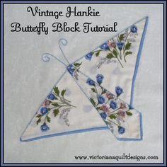 Hanky Quilt Block Patterns | Hankie Butterfly Block Quilt Pattern Tutorial from Victoriana Quilt ...
