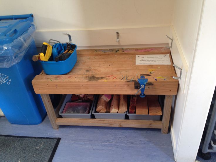 Workbench for class with tools, wood etc