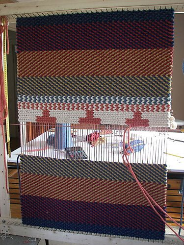 shantelie _ medieval Icord twined rug, on personal homemade frame-loom: Homemade Frames Loom, Medieval Icord, Rugs Twine, Weaving Rugs, I Cords, Cords Twine, Icord Twine, Giant Loom, Twine Rugs