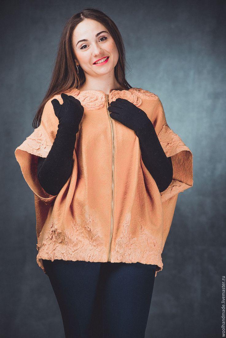 Купить Жакет куртка кокон из шерсти Пион - комбинированный, жакет, жакет…