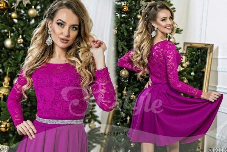 Праздничное женское платье с гипровым верхом и стразами юбка клеш фиолетовое