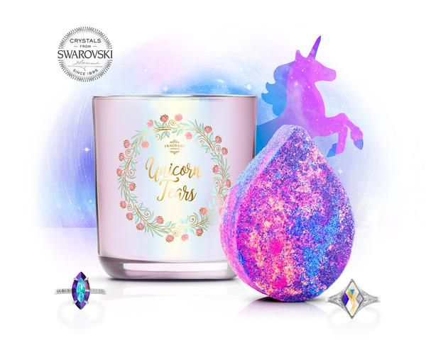 Elusive, magical, and full of possibility, the Unicorn Tears Bath Bomb and Candle Set is everything you need to harness the power of rainbows, sparkles, and – o