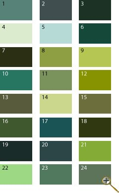 green shades for summer type. the greens should be closer to blue color, not yellow. olive and khaki are all right.