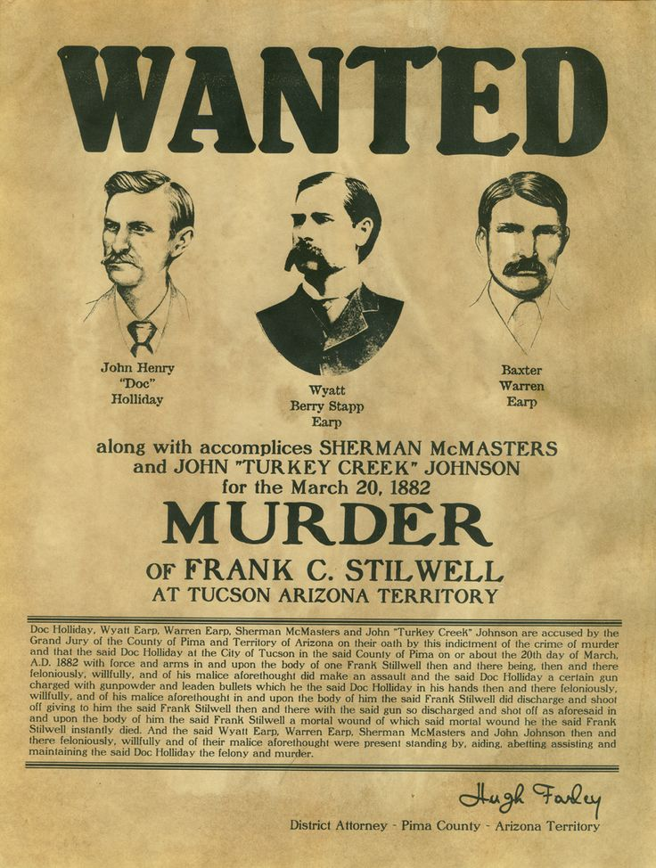 Wanted poster for Doc Holliday, Wyatt Earp, and Warren Earp; these three men were involved in a series of revenge killings after the Gunfight at the OK Corral.