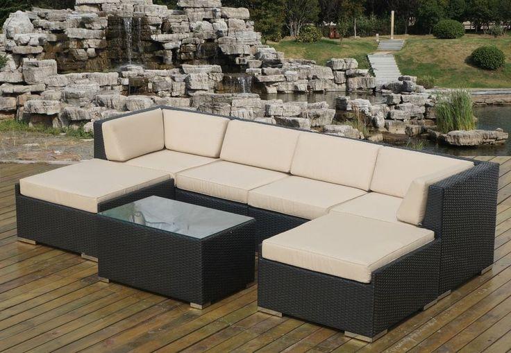 Ohana Outdoor Patio Wicker Furniture 7pc - Beige #OhanaFurniture bid