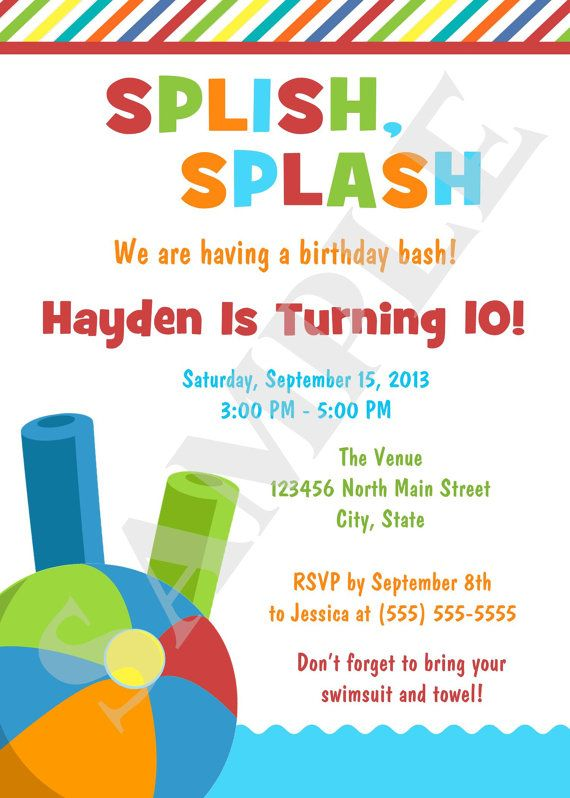 Printable Swimming Pool Birthday Party Invitation by jessica91582, $10.00