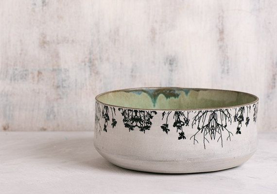 Ceramic Bowl, Modern serving bowl, Home Decor Fruit Bowl, Mint Green pottery, Decorative Woodland Bowl, trees print bowl, Stoneware Bowl