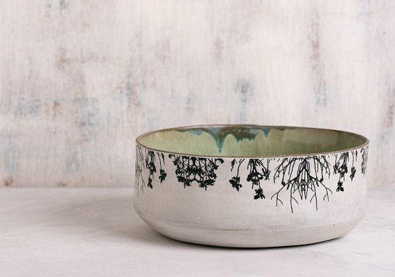 Ceramic Bowl, Modern serving bowl, Home Decor Fruit Bowl, Mint Green pottery, Decorative Woodland Bowl, trees print bowl, Stoneware Bowl