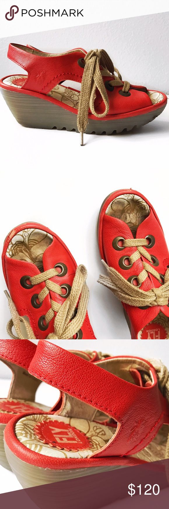 """➡Fly London Red Ylva Lace-Up Sandals⬅ I just love how cute and comfortable Fly London shoes are, especially these red wedge heels with a lace-up front. Some light wear and scuffs in the front, but overall they look amazing.  Leather upper. Lace-up style. Rubber sole. Heel measures approximately 2 1/2"""". Platform measures approximately 1"""". 💕Offers welcome. Take 30% off your entire purchase automatically at checkout when you use the bundle feature, or make an offer for your bundle. Happy…"""