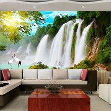 Personalizado grande Mural papel de parede 3d cachoeira papel de parede quarto TV sofá fundo paisagem adesivos de parede home decor pássaro chinês(China (Mainland))