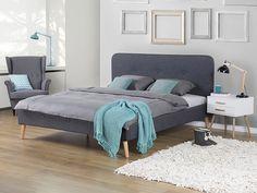 Bett Grau – Doppelbett 180x200 cm – Ehebett – Polsterbett – RENNES