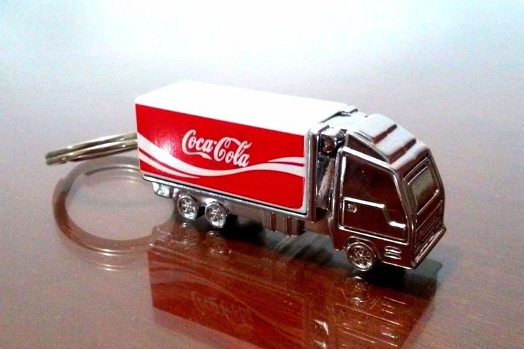 Metal Keychain Lighter Coca Cola Truck Company Refillable Flip Top High Quality