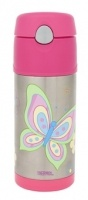 Insulated Stainless Steel Drink Bottles | Haggus and Stookles.  See our website:  http://haggusandstookles.com.au/product/view/Insulated-Stainless-Steel-Drink-Bottles/thermos-funtainer-straw-bottle-butterfly/10/277/