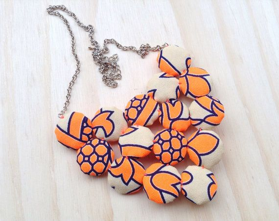 Stunning fabric yoyo Cluster Necklace. In Neon Orange