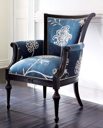 Crewel-print fabric-covered chair from Neiman Marcus. @Jane Phillips #UpholsteredChair