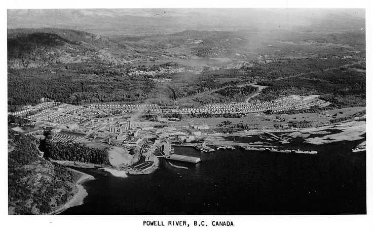 ;Powell River, B.C.1950  The pulp mill and townsite area of Powell River, BC. The river itself runs from Powell Lake (background) to the mill.