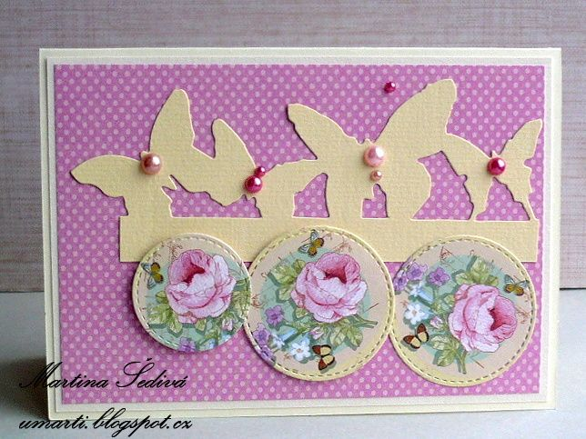 card - buterfly and roses