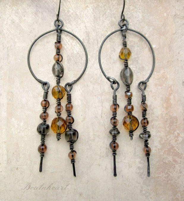 Doorway out of the dark. Springtime golden yellow dangle earrings primitive tribal modern