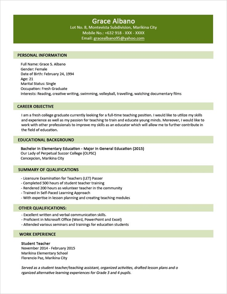 sample resume format for fresh graduates two page intended examples resumes best security guard samples