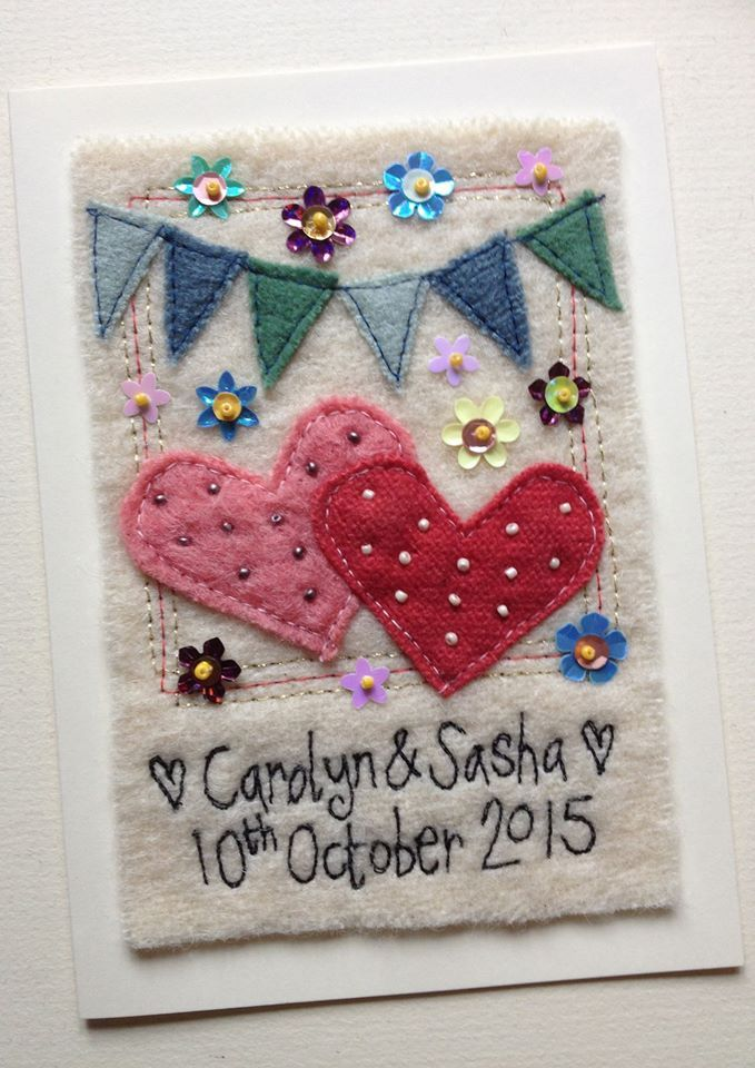 "Personalised greetings card for a wedding, anniversary, valentines day, engagement..... made using hand dyed vintage woollen blankets. The text is free machine embroidery - no computerised machines here!! sequins and beads are sewn on by hand. The hearts and sequins can be any colour. Cards measure 5"" x 7"" The mount is 7"" x 9"" To order please email me sarahpattison603@btinernet.com find me on facebook Sarah Pattison Design Instagram sarahpattisondesign"
