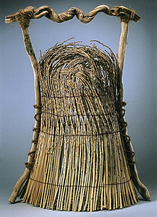 ♂ basket art Natural Form II by Norma A. Fox, Palm Branches and Honeysuckle Vine, Twined