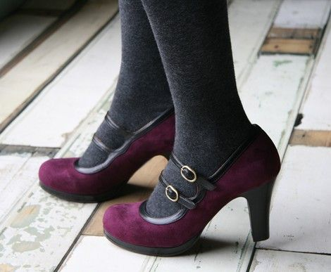 Chie Mihara :: Purple velvet double-strap mary jane heels <3