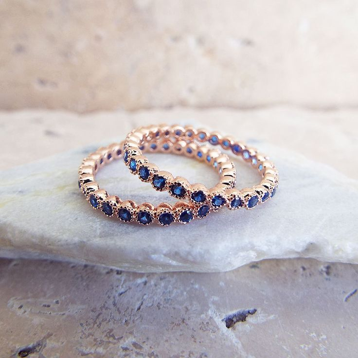 Blue Sapphire Rose gold 2 mm full eternity milgrain Bezel CZ Ring stacking ring Eternity Band Wedding Anniversary Ring rose gold plated CZ by LasyaJewelry on Etsy