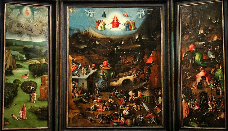 Hieronymus Bosch (Jeroen van Aken, ca 1450-1516), The Last Judgment, triptych (1504-08), central panel, 163 x 128 cm, wings 163 x 60 cm. Weltgerichtstriptychon Akademie für bildenden Künste, Vienna Canon EOS 7D  In the left wing, the creation of Eve, the temptation of the First Couple, and the expulsion of Adam and Eve from Paradise is shown.   The central panel represents the earth in her final death throes. In the view of Bosch, earth has become indistinguishable from Hell, depicted on the…