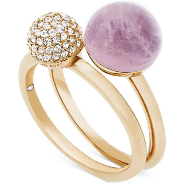 Michael Kors Gold-Tone 2-Pc. Set Crystal Fireball and Purple Stone... ($125) ❤ liked on Polyvore featuring jewelry, rings, gold, crystal jewellery, purple stone rings, stone jewelry, crystal stone jewelry and stackable rings