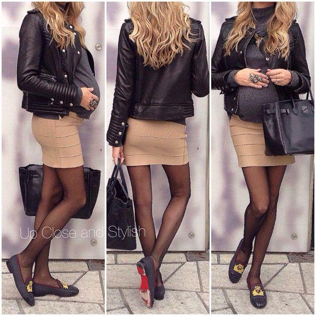 Today - #Iro leather jacket, #Marni knit, #Haute_Hippie skirt, #HM maternity tights, #Louboutin flats and Hermès 'So black' #Birkin 35. 29 weeks pregnant.