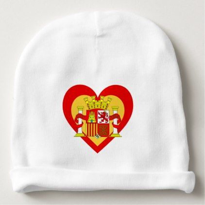 Spain/Spanish flag-inspired Hearts Baby Beanie - accessories accessory gift idea stylish unique custom