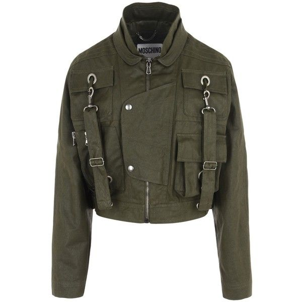 Moschino Blazer ($1,350) ❤ liked on Polyvore featuring outerwear, jackets, blazers, military green, olive blazer, long sleeve blazer, long sleeve jacket, padded jacket and army green jacket