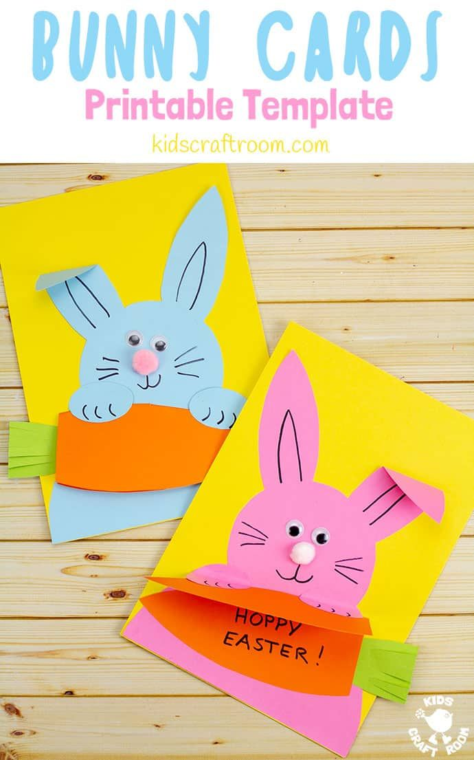 Carrot Nibbling Easter Bunny Cards Easter Bunny Cards Easter Crafts For Kids Easter Crafts