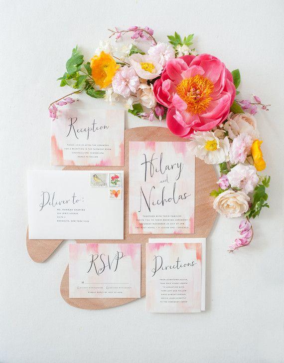 Let your florals complement your wedding invitation design.