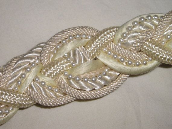 Wedding Belt with Pearls from Carlas Vintage Finds. $28.00, via Etsy.