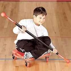 i rode these scooters in gym class...on the belly, sitting up with another student pushing...