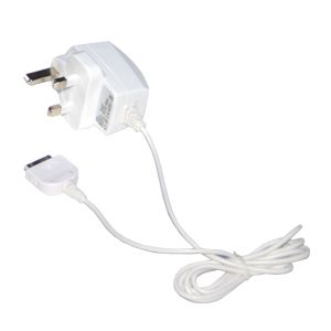 iPhone 4S/4/3GS White Travel Charger with 3Pin UK Plug (240V)..  Keep your iPod and iPhone working constantly with this sleek design and compact size travel charger for use at home and travel. Available with either a UK 3Pin 240V or Euro 2Pin 220v plug.