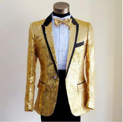 Men's Fashion Singer Host Slim Fit Blazer Tuxedo Sequins Sparkling Suit Coat