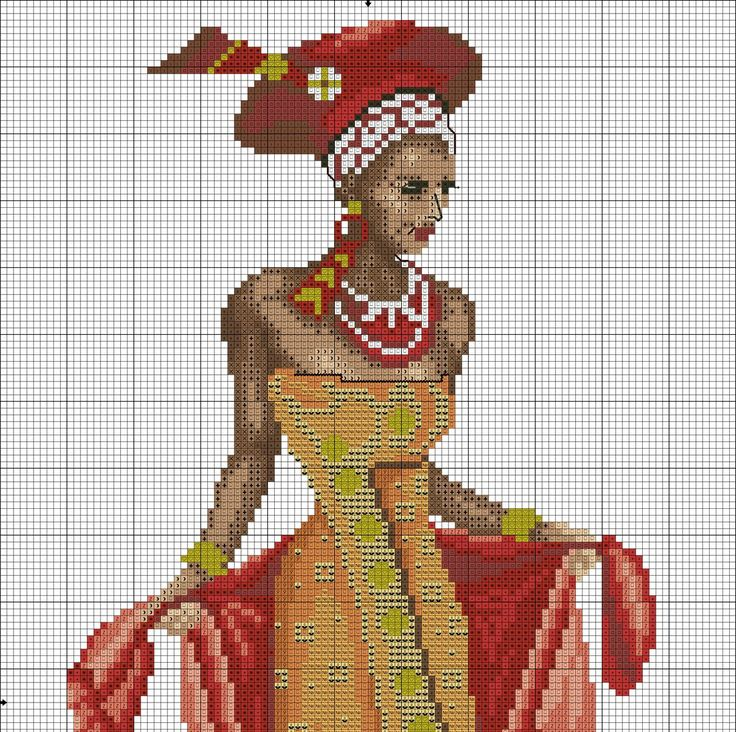 #1 Gold & Red African lady Fashion ( 1/2 )