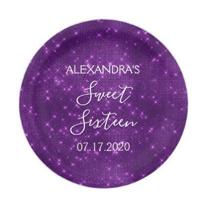 Sweet 16 Birthday Purple Sparkle and Shimmer Paper Plate - girly gifts special unique gift idea custom  sc 1 st  Pinterest & Sweet 16 Birthday Purple Sparkle and Shimmer Paper Plate | Zazzle ...