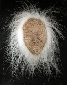 Alaska Eskimo Mask, ossified whalebone. smiling face, polar bear fur.  DH78 Evan/Apatiki